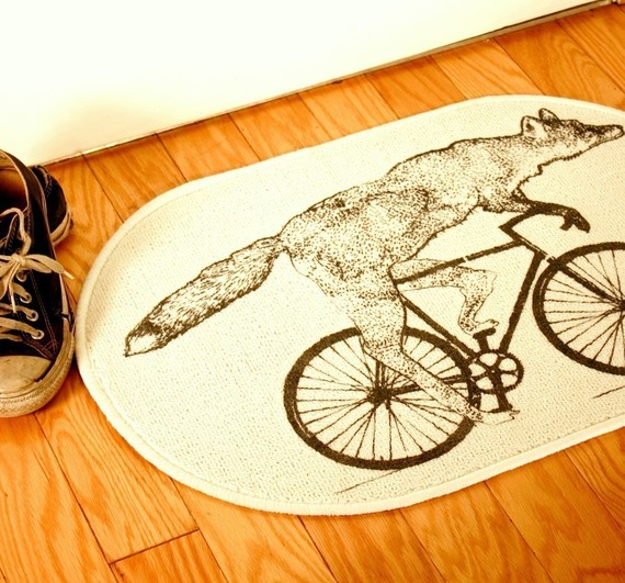 fox on a bike rug