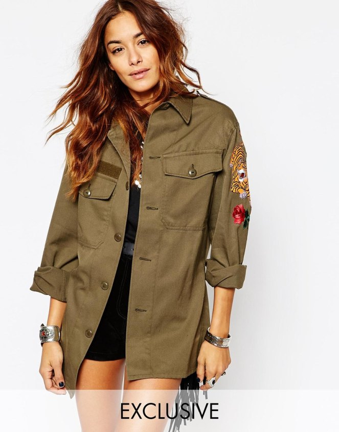 milk it vintage festival military shirt with tiger patch arm detail